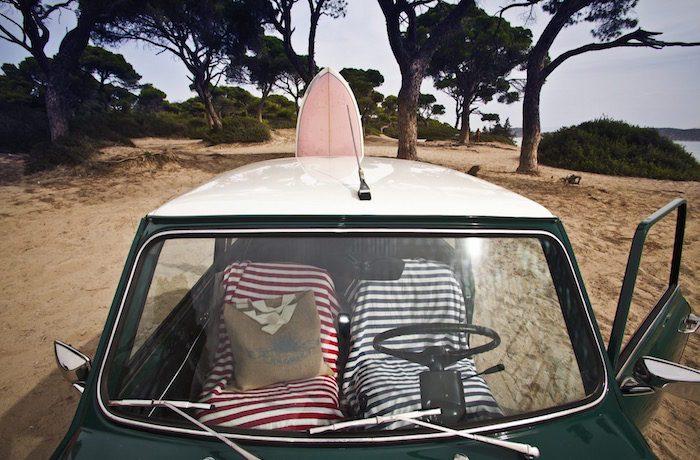 Sun of a Beach: Mini with surfboard