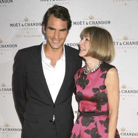 20 Aug 2013, New York City, New York State, USA --- Celebrity guests come out to help Moet & Chandon celebrate its 270th Anniversary with new Global Brand Ambassador, 17-time grand slam winnter/international tennis champion, Roger Federer. Held at Pier 59 Studios at Chelsea Piers in NYC. Pictured: Roger Federer and Anna Wintour  --- Image by © Johns PKI/Splash News/Corbis