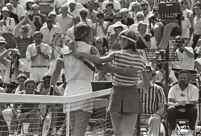 10 Sep 1983 --- Original caption: 9/10/1983-New York, NY- Chris Evert Lloyd (R) congratulates Martina Navratilova after her first U.S. Open tennis championship. Navratilova defeated defending champion Evert Lloyd in two sets 6-1 and 6-3. --- Image by © Bettmann/CORBIS